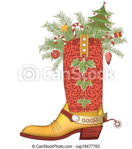 Bota de vaquero de Navidad. Zapato de Lujo aislado en blanco - csp16477763