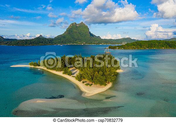 Bora Bora In French Polynesia Aerial View Of Motu Coral Lagoon And Mount Otemanu