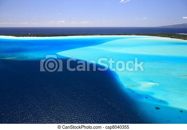 Bora Bora Lagoon, French Polynesia from above. Dreamlike colors.  - csp8040355