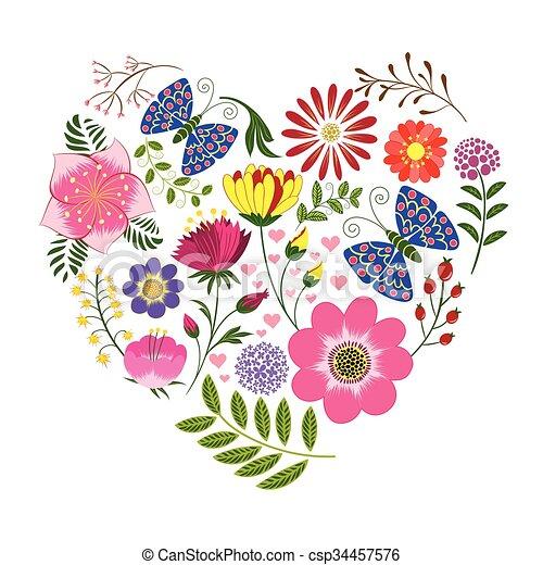 borboleta, flor, fundo, springtime, coloridos - csp34457576