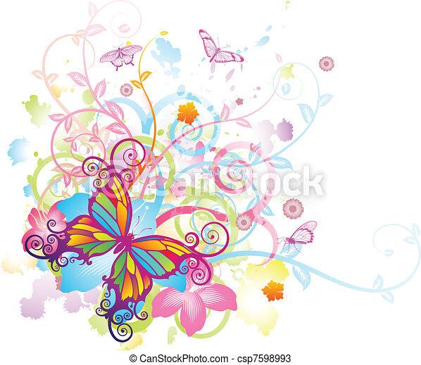 borboleta, floral, abstratos, fundo - csp7598993
