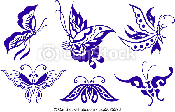 borboleta, ilustração - csp5625598