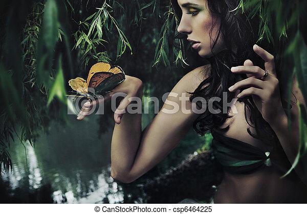 borboleta, retrato, morena, beleza - csp6464225