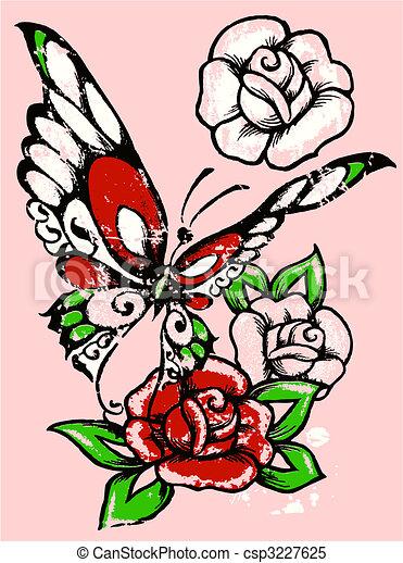 Borboleta Rosa Tribal