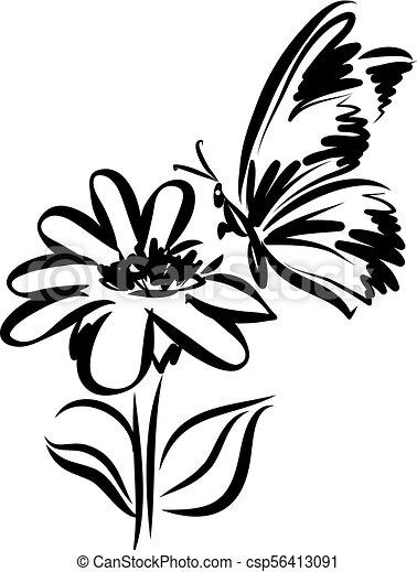 Borboleta Tatuagem Flor Vetorial Ilustração