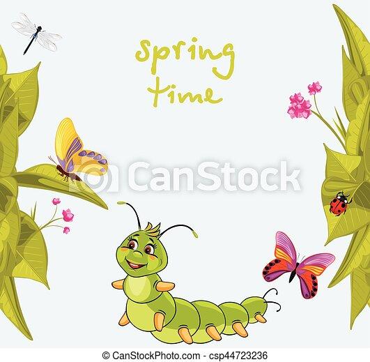 borboletas, lagarta, sorrindo, caricatura - csp44723236