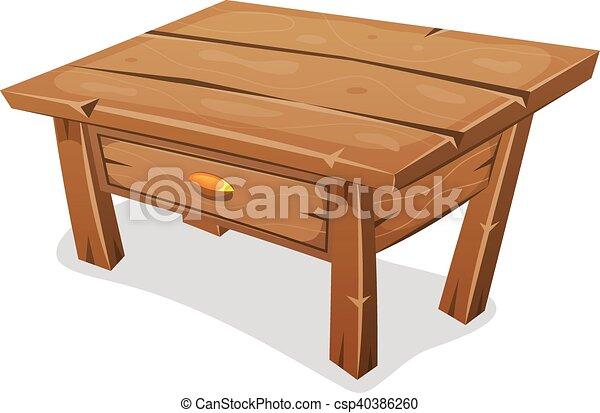 Bord, litet, ved. Rolig, trä, isolerat, illustration, låda ...