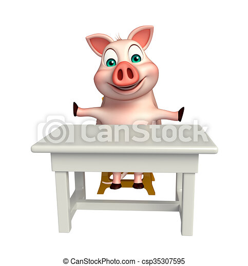 bord, stol, tecken, tecknad film, gris