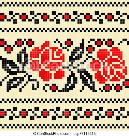 bordado, pauta flor, cruz, stich - csp77115513