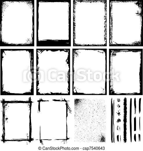 bordas, escovas, linhas, texturas, & - csp7540643