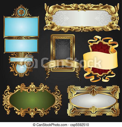bordas, vindima, etiquetas, retro, ouro - csp5592510