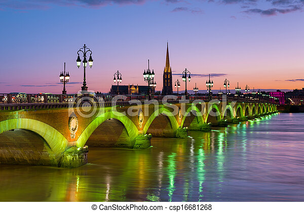 Bordeaux at a summer night - csp16681268