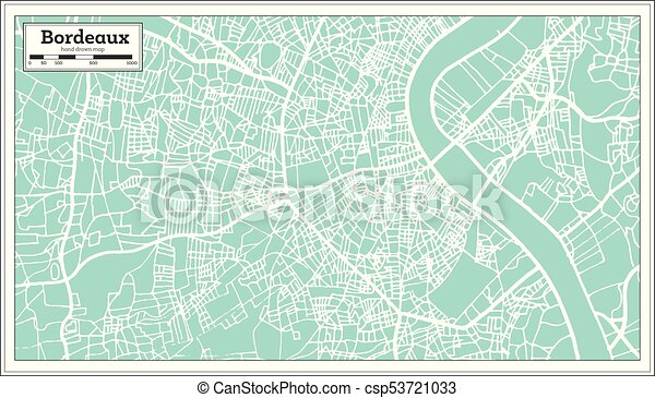 Bordeaux France City Map In Retro Style Outline Map Vector