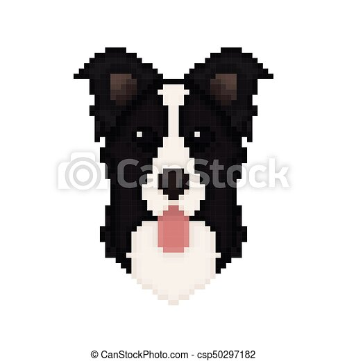 Border Collie Dog Head In Pixel Art Style Vector