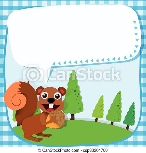 Border design squirrel and acorn - csp33204700