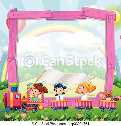 Border design with children on the train - csp33204764
