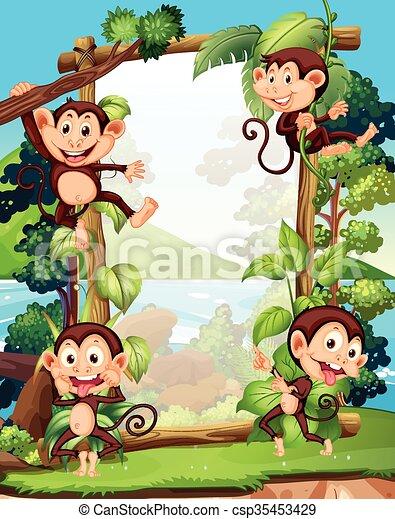 Border design with four monkeys - csp35453429