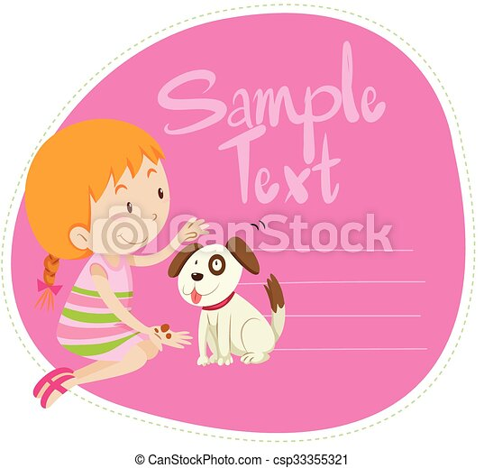 Border design with girl and dog - csp33355321