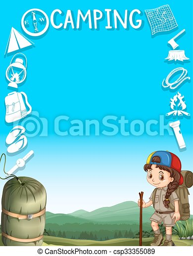 Border Design With Girl Camping Out