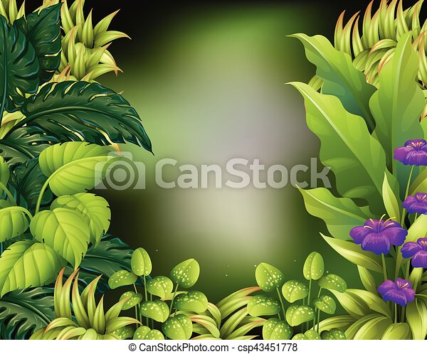 border design with green leaves csp43451778