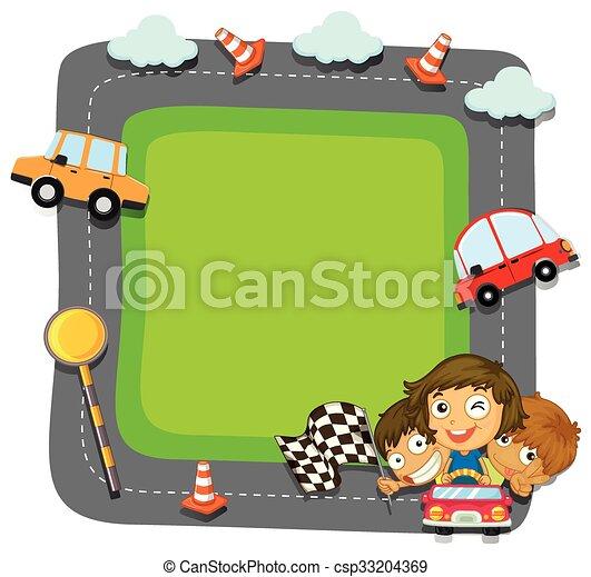 border design with kids and traffic illustration rh canstockphoto com clipart traffic light clipart traffic light
