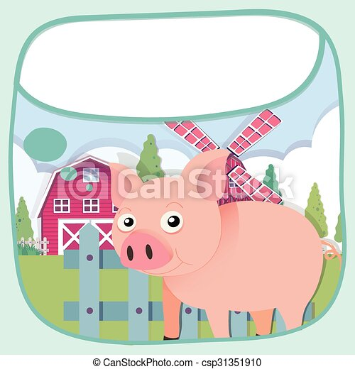 Border Design With Pig And Barn