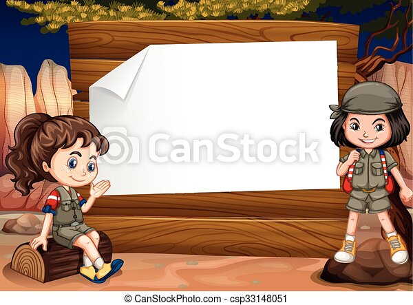 Border Design With Two Girl Camping Out