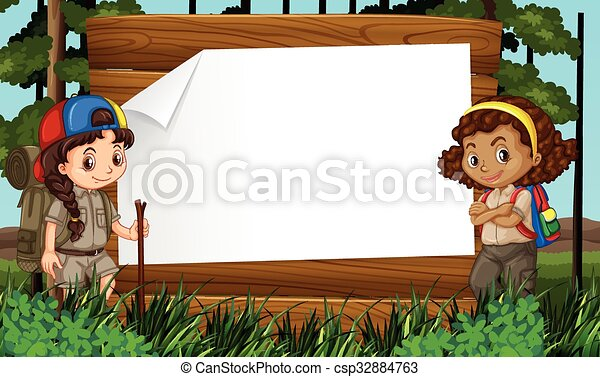 Border Design With Two Girls Camping Out Illustration