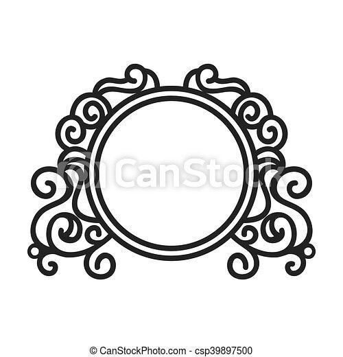 Victorian vintage elegant border frame ornament vector illustration.
