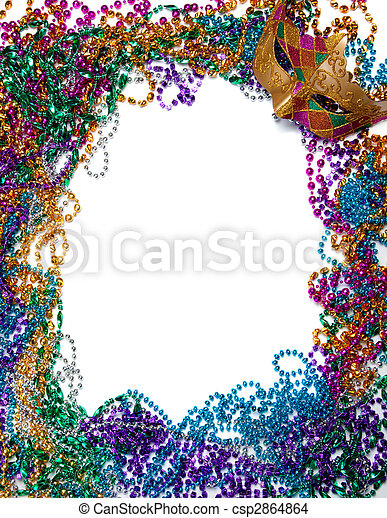 Border made of mardi gras bead and mask on white  - csp2864864