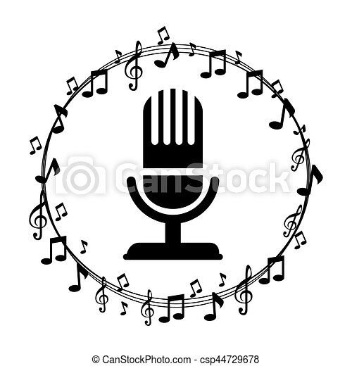 Border Musical Notes With Microphone Vector Illustration