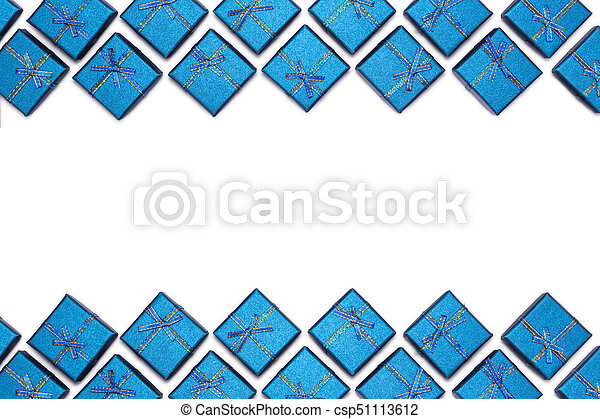 border of blue shiny gifts isolated on white background new years decorations csp51113612