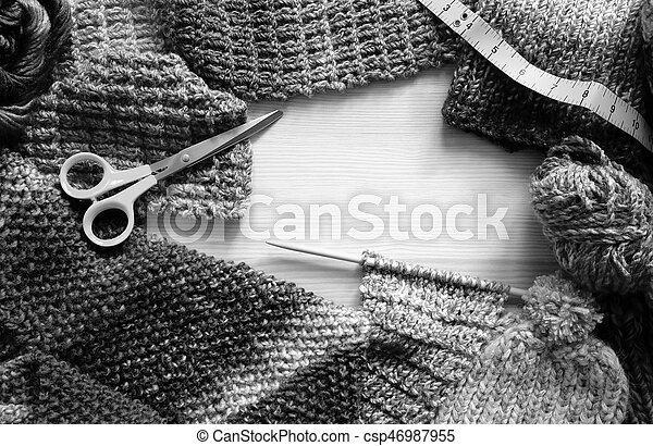 Border Of Knitting Wool Craft Scissors And Tape Measure Border Of