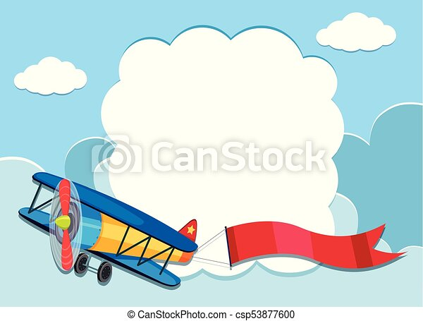border template with airplane in the sky illustration vector clipart rh canstockphoto com