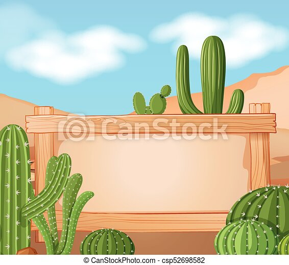 Border template with cactus in background illustration vector ...