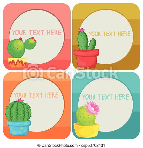 border template with cactus plants illustration