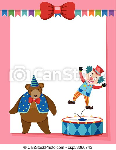 border template with circus bear and clown illustration