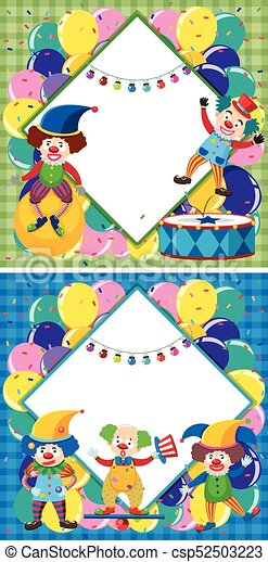 border template with clowns in circus illustration