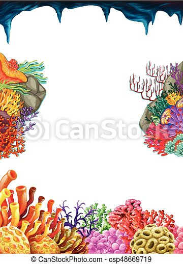 border template with coral reef underwater illustration