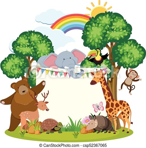 border template with cute animals in garden illustration