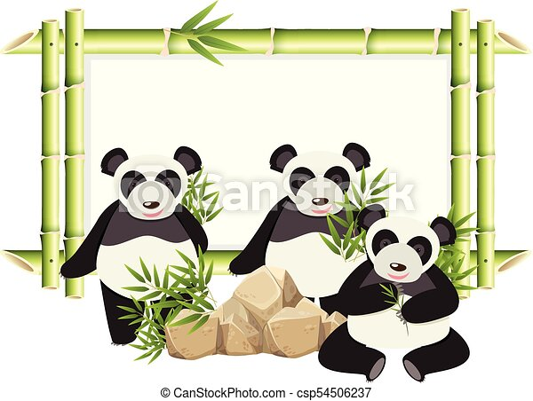 Border Template With Cute Panda And Bamboo