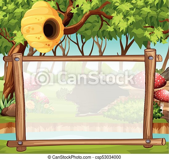 border template with forest in background illustration