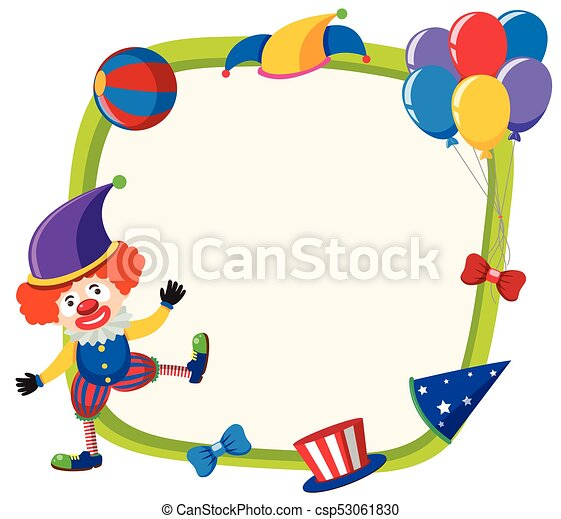 border template with funny clown and balloons illustration