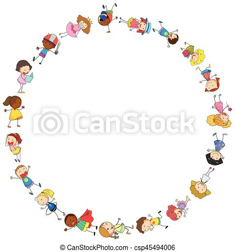 border template with happy kids in circle illustration