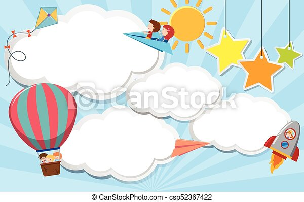 Border template with kids flying in sky illustration.