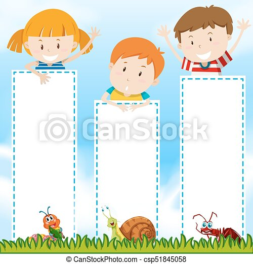 Border template with kids in the park illustration.