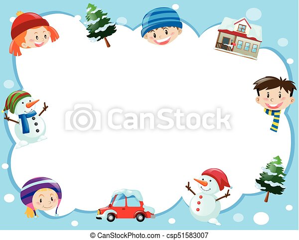 border template with kids in winter time illustration