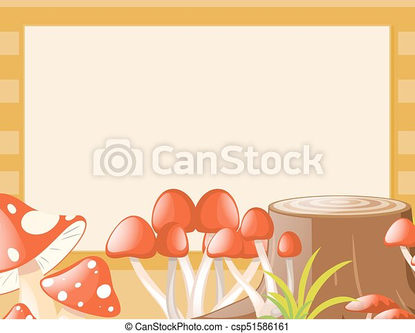 Border Template With Mushroom And Log