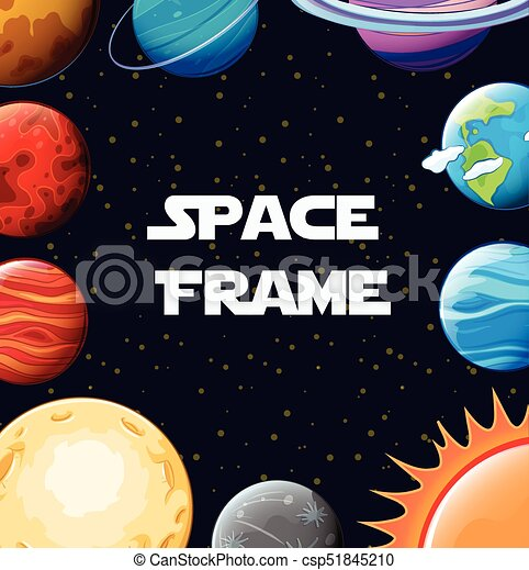 border template with planets in galaxy illustration