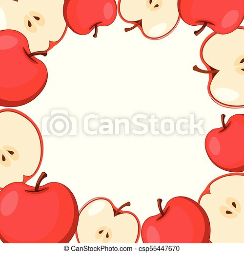 Border Template With Red Apples Illustration Canstock